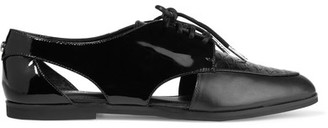 MICHAEL Michael Kors - Jensen Oxford Patent And Snake-effect Leather Brogues - Black $145 thestylecure.com