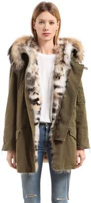 Saint Laurent Hooded Gabardine & Fur Parka