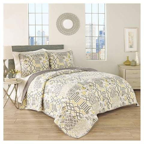 Traditons by Waverly Gray Floral Set in Spring Quilt Set 3pc - Traditions by Waverly®