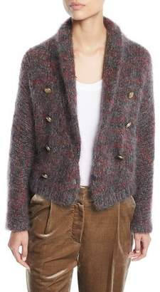 Brunello Cucinelli Mohair-Cashmere Melange Cropped Cardigan
