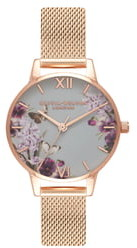 Olivia Burton Enchanted Garden Mesh Strap Watch, 30mm