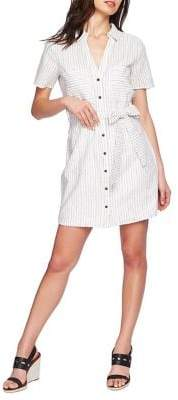 1 STATE 1.State Striped Button Front Tie Shirt Dress