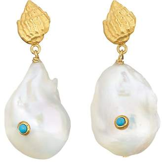 ANNI LU Women's Baroque Pearl Shell Earrings