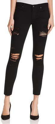 AG The Legging Ankle Distressed Jeans in Darkest Night $198 thestylecure.com
