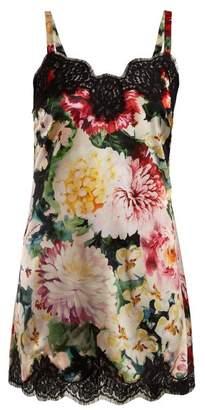 Dolce & Gabbana Floral Print Silk Blend Slip Dress - Womens - Pink Multi