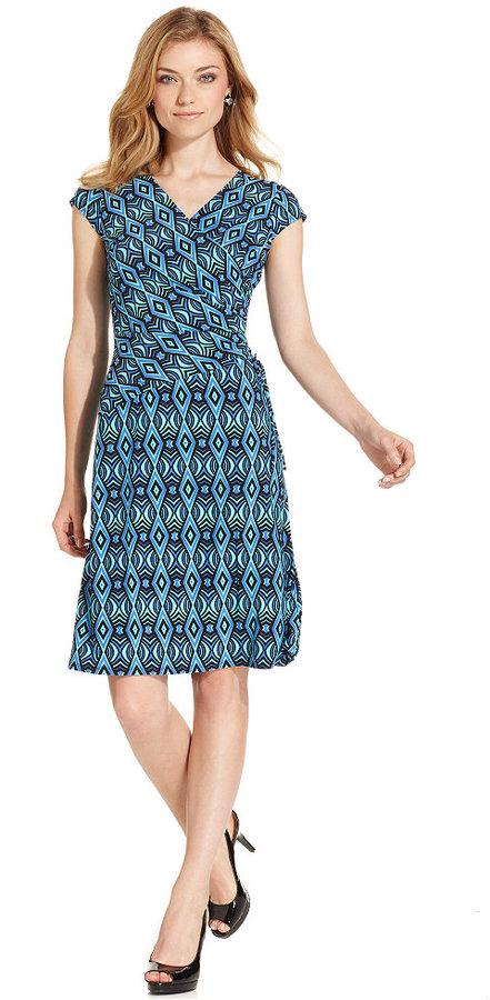 Evan Picone Dress, Cap-Sleeve Printed Faux-Wrap