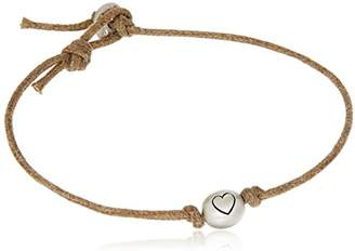 Me & Ro Me&Ro Sterling Heart Bead Cord Strand Bracelet