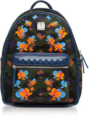MCM Dieter Loden Green Floral Camo Print Nylon Small Backpack