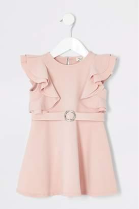 River Island Girls Pink Ruffle Skater Dress - Pink