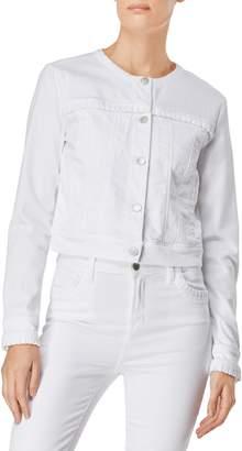 J Brand Harlow Collarless Ruffle Detail Jacket