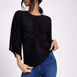 River Island Black twist front kimono sleeve top
