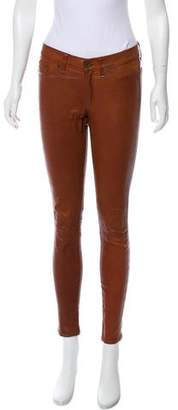 Rag & Bone Leather Mid-Rise Pants
