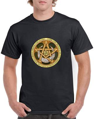 Celtic The Good Striker Men's and Women's T-Shirt with Knots, Pentagram, and Samhain Triple Spiral.