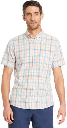 Izod Men's Classic-Fit Essential Plaid Chambray Woven Button-Down Shirt