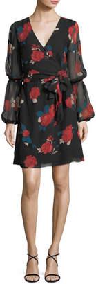 Club Monaco Jowdie Wrap-Front Tiered-Sleeves Floral-Print Silk Dress