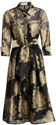 Teri Jon By Rickie Freeman Metallic Floral Tie Shirtdress