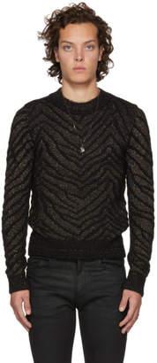 Saint Laurent Black and Gold Lurex Zebra Sweater