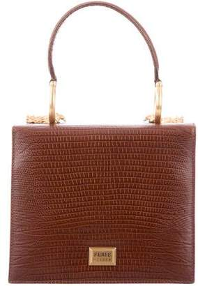 Gianfranco Ferre Embossed Leather Top Handle Bag