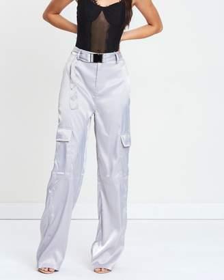 Missguided Satin Seatbelt Wide-Leg Trousers