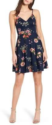 Soprano Floral Print Strappy Skater Dress