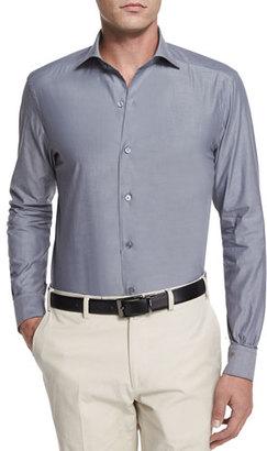 Ermenegildo Zegna Solid Chambray Long-Sleeve Shirt, Dark Gray $345 thestylecure.com