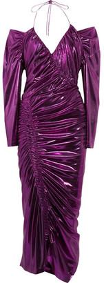 Lazarus Ruched Lamé Midi Dress - Purple