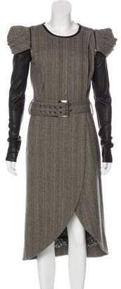 Thomas Wylde Leather-Paneled Midi Dress