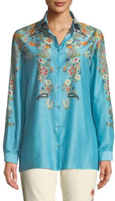 Etro Fern-Floral Silk-Cotton Button-Front Blouse