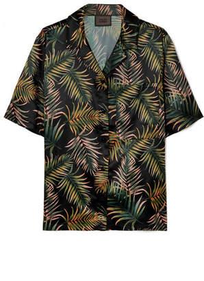 Kith - Carla Embroidered Printed Satin Shirt - Army green