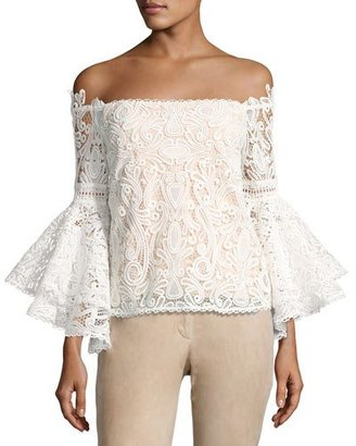 Alexis Thea Off-the-Shoulder Lace Top, White $396 thestylecure.com