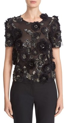 Women's Marchesa 3D Floral Embellished Tulle Top $1,995 thestylecure.com
