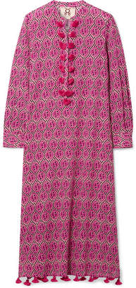 Figue Paolina Tasseled Printed Voile Midi Dress - Pink