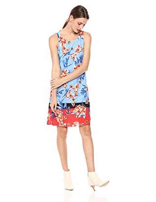 MSK Women's Trapeze Dress with a Floral and Color Blocked Puff Print