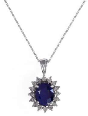 Effy Royalty 14K White Gold, Diamond & Sapphire Pendant Necklace
