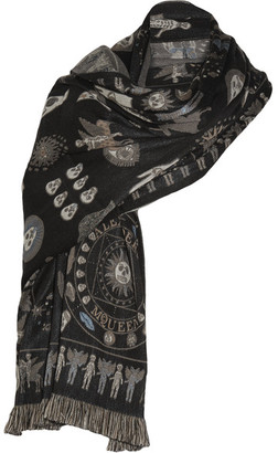 Alexander McQueen - Fringed Wool-blend Wrap - Anthracite $635 thestylecure.com