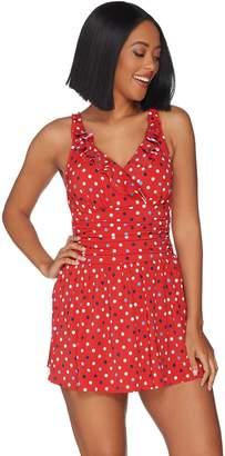 Denim & Co. Beach Double Ruffle Swim Dress