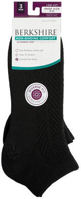 Asstd National Brand Berkshire Non Binding 3Pk Low Cut Socks Extended Size - Womens