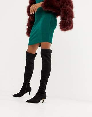 Miss Selfridge over the knee heeled boots in black