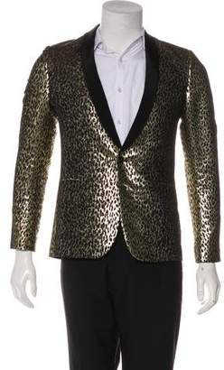 Saint Laurent Babycat-Print Silk-Lined Tuxedo Jacket