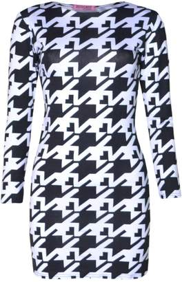VIP Womens Long Sleeved Dogtooth Tunic Dress (Mtc) (8/10 (uk), Black/white)