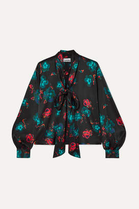 Ganni Pussy-bow Floral-print Silk-blend Satin Blouse - Black
