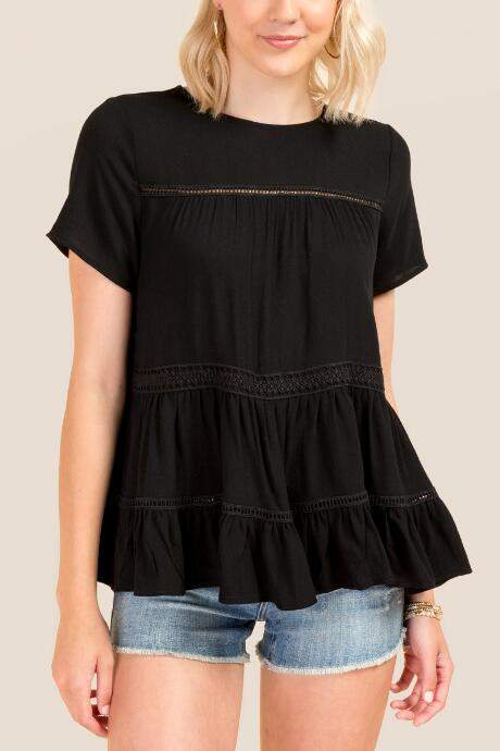 Sia Mixed Crochet Trim Babydoll Blouse - Black