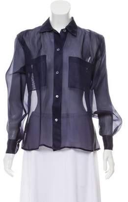 Calvin Klein Collection Long Sleeve Semi-Sheer Top