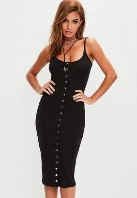 Missguided Black Strappy Ribbed Popper Midi Dress