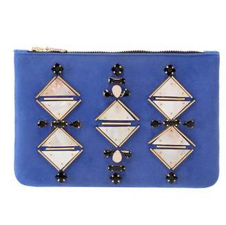 Shiraleah Blue Suede Clutch