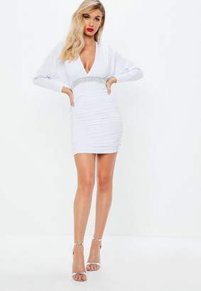 Missguided White Slinky Diamante Batwing Dress