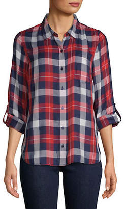 Tommy Hilfiger Plaid Roll-Tab Button-Down Shirt