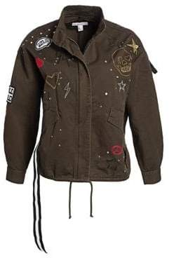 Scripted Embellished Cotton Twill Military Jacket