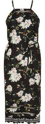 River Island Womens Black floral ladder lace cami slip midi dress