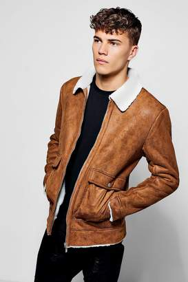 boohoo Faux Suede Jacket With Borg Collar